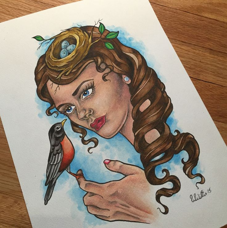 Robin Lady Painting. Tattoo Lady Face Flash design by Coppertop Arts (Whitney Thompson) Tattoo art for sale