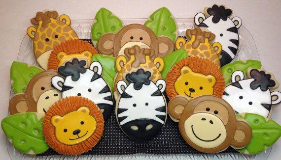 SweetTweets - Safari Zoo Jungle Animal Cookies - 1 dozen on Etsy, $42.00