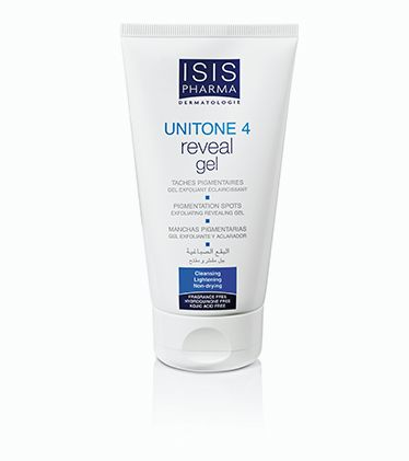 Unitone 4, Reveal gel 150ml. Gel exfoliant éclaircissant, hyperpigmentation, mélasma, létigo sénile, létigo actinique et choasma.