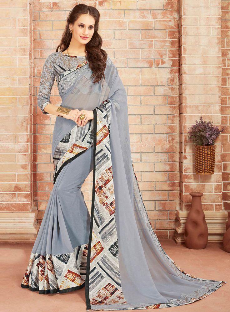 Gray Chiffon Printed Saree With Blouse 101267