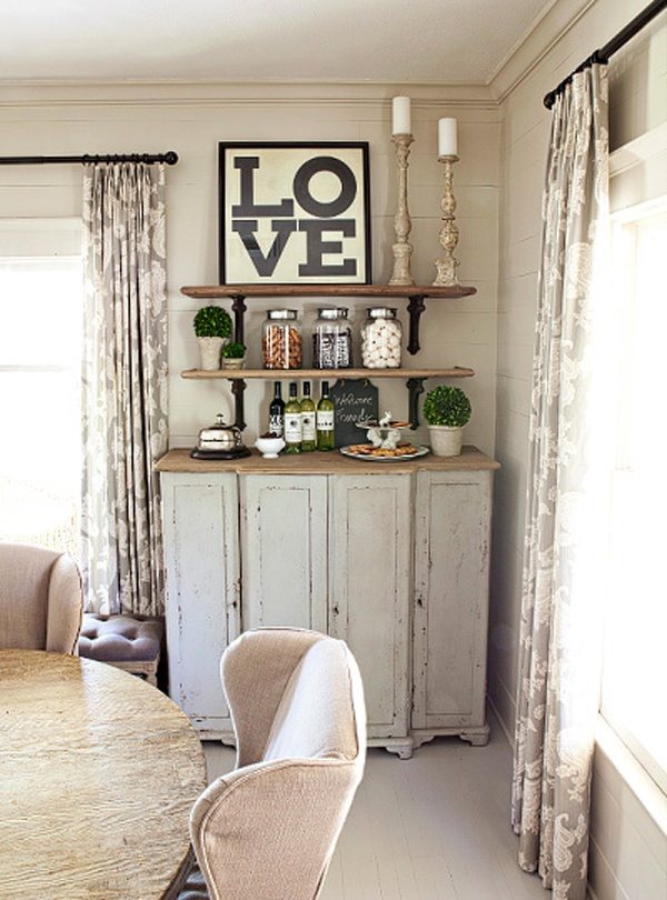 love/ shelves/ vignette - great idea for a small corner/wall.