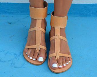 Echte griechische Sandalen aus Leder, Knöchel wickeln Sandalen, böhmische Sandalen, Leder Sandalen. Antike griechische Sandalen '' Myrto'' (viele Farben)