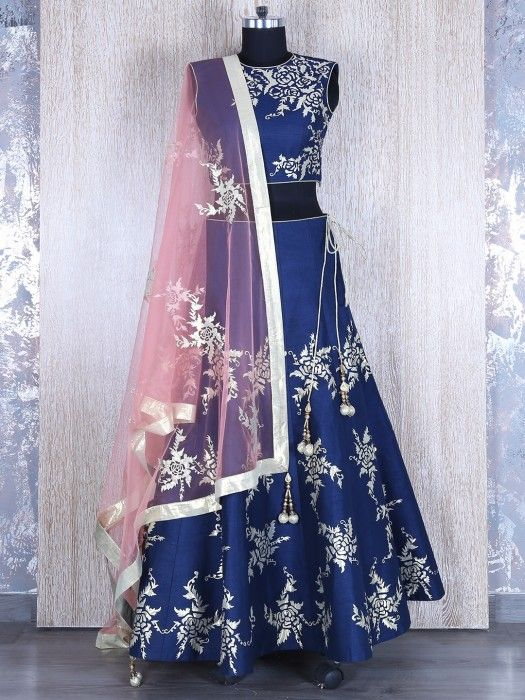 This product available only at  G3+ Sutaria, Ghoddod Road Store Shop Navy Silk Blue Pink Wedding Wear Lehenga Choli By G3+ Video Shopping