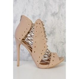 Camel Strappy High Polish Cut Outs Peep Toe Single Sole High Heel Booties Faux Leather