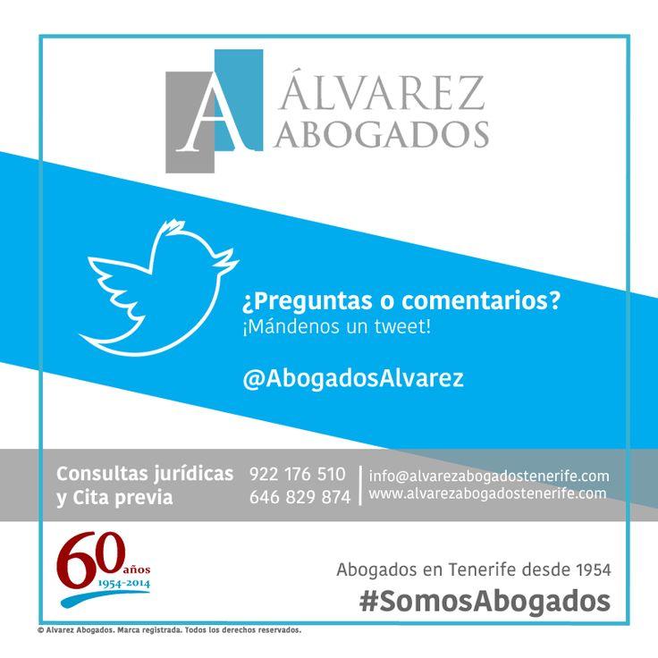 ¿Sabe que ahora también le atendemos en Twitter? Sus preguntas y comentarios en http://twitter.com/AbogadosAlvarez #SomosAbogados #Twitter