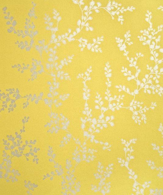 Mustard Design Wallpaper : Shadow fern floral wallpaper metallic silver