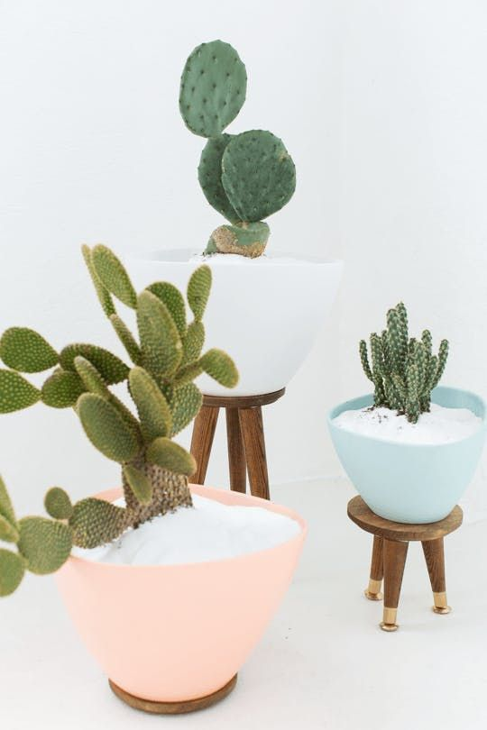 IKEA's large planters some midcentury-modern flair, Sugar & Cloth perched them atop tapered furniture legs.