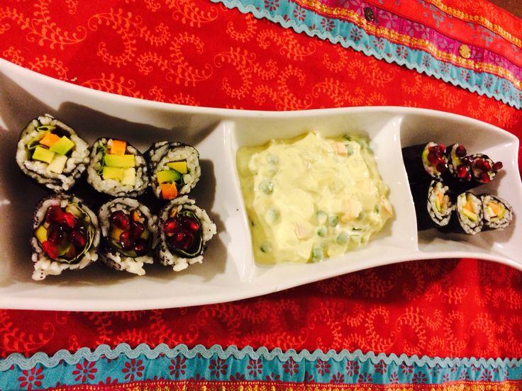 Vegy Olivier salad and sushi