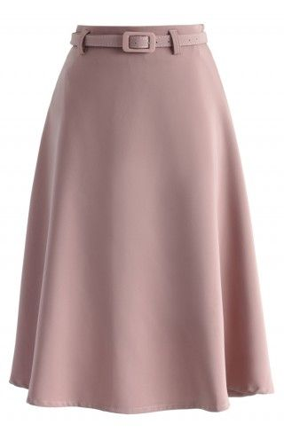 Savvy Basic Belted A-line Skirt in Pink - Skirt - Bottoms - Retro, Indie and Unique Fashion