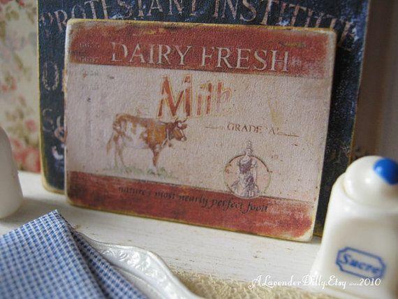 Dairy Fresh Milk Sign for Dollhouse by alavenderdilly on Etsy, $3.75