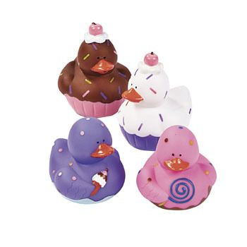"Sweet Treats Rubber Duckies.  These ""delicious"" looking ducks are excellent for a sweet favor! Sweet Treats Rubber Duckies look just like a delicious assortment of cupcakes and ice cream! (without the calories!!)  5.08-6.35cm"