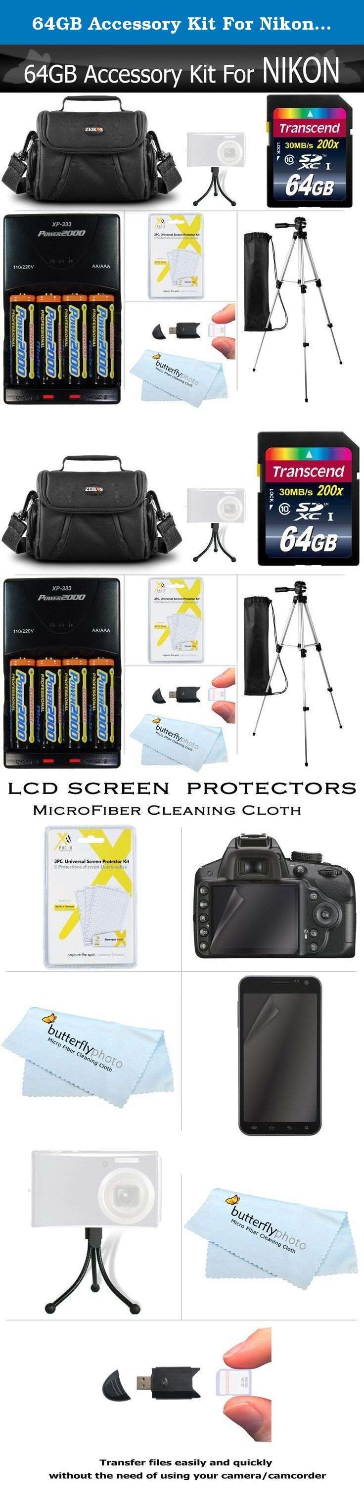 64GB Accessory Kit For Nikon Coolpix B500, L840, L830, L820, L340, L330, Digital Camera Includes 64GB High Speed SD Memory Card + 4AA Rechargeable NIMH Batteries + Rapid Charger + Case + Tripod ++. This Kit Includes Some Of The Essential Accessories You Need To Take Full Advantage Of Your New Nikon Coolpix B500, L330, L340, L100, L110, L120, L310, L810, L820, L620, L830, L840 Camera Kit Includes: 64GB (SDHC) High-Speed Class 10 Memory Card: - Unleash your cameras full potential. You can…