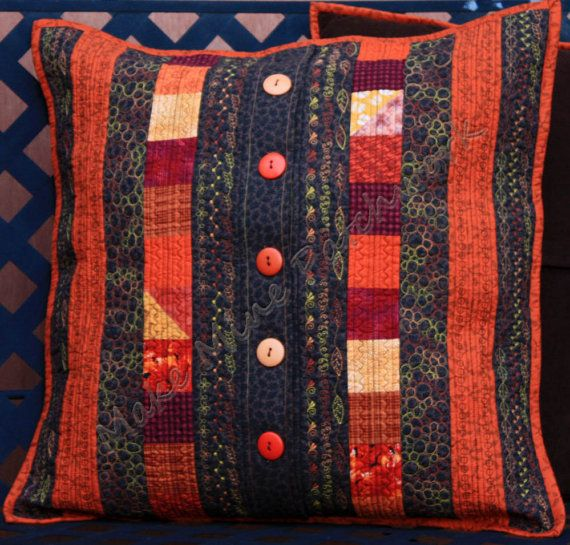 Quilted AutumnThrow Pillow Cover Patchwork by MakeMinePatchwork Congratulations Karen Relfe Of Make Mine Patchwork for WINNING the SHOP HOP contest in October! I LOVE this cushion.. Sew creative LOL :-)
