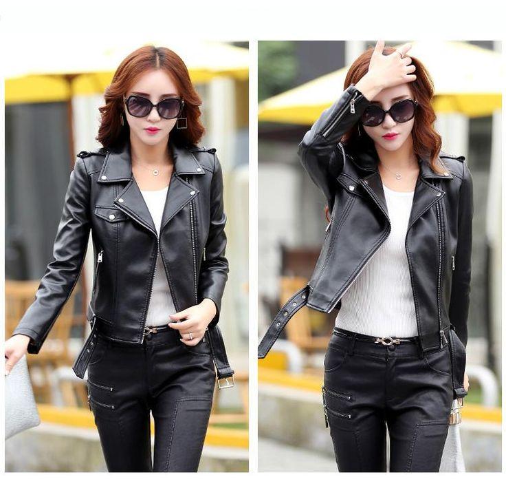 Plus Size 3xl Jaqueta De Couro Leather Jacket Women 2017 Autumn Korean Short Slim Thin Motorcycle Casual Grey Red Coats