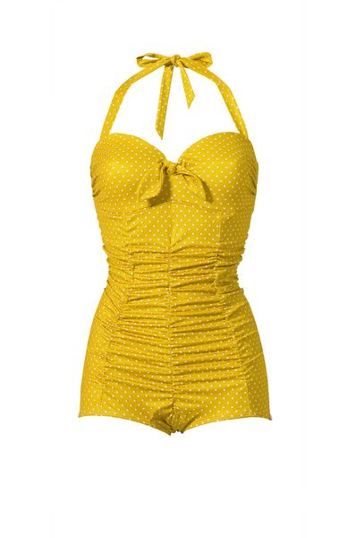 Gelber Badenazug mit Pünktchen // Yellow retro swimsuit with polka dots by MamaMariaSwimwear via DaWanda.com