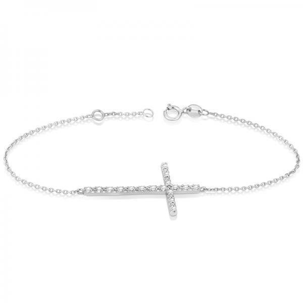 Allurez Sideways Cross Ankle Bracelet & Diamond Accents 14k White Gold... ($720) ❤ liked on Polyvore featuring jewelry, bracelets, white gold, sideways cross bangle, chains jewelry, 14k white gold anklet, cross jewelry and white gold anklet
