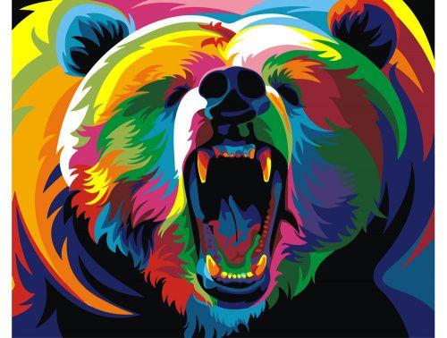 «Радужный медведь» Ваю Ромдони Картина по номерам, картина-раскраска по номерам, раскраска по номерам, paint by numbers, купить картину по номерам - Zvetnoe.ru - картины по номерам, алмазная мозаика