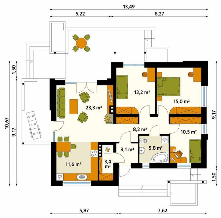 Niewielki dom parterowy, zaprojektowany z myślą o 4-osobowej rodzinie, która marzy o małym, prostym, ale nowoczesnym domu. Pomimo niewielkiej powierzchni wnętrze domu, dzięki licznym przeszkleniom, tarasom oraz połączeniu kuchni z salonem, wydaje się pokaźne i lekkie. Nowoczesna bryła posiada wewnątrz klasyczny podział na część dzienną (salon, kuchnia) i nocną (trzy sypialnie, łazienka).