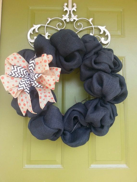 Black and Orange burlap Halloween Wreath