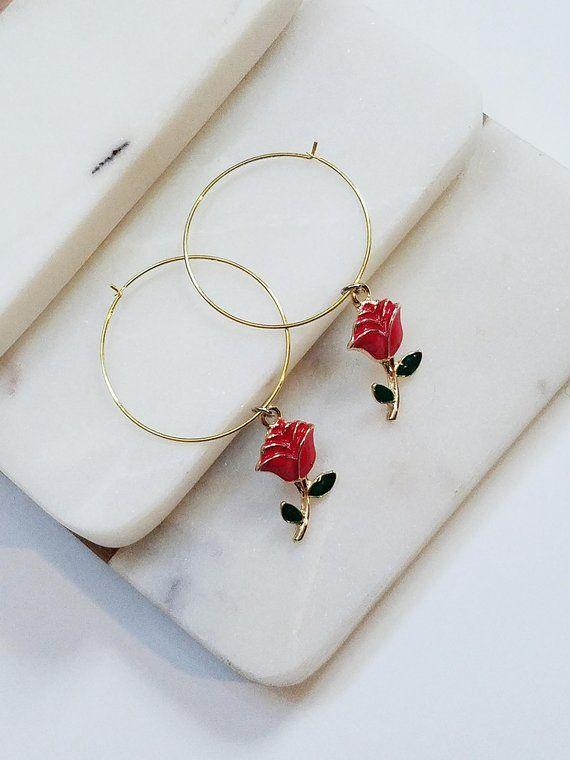 Rose Hoop Earrings Rose Earrings 90s Gold Rose Hoop Earrings Hoop Earrings With Roses Red Rose Ea Beautiful Jewelry