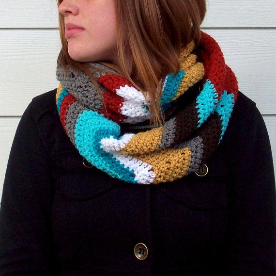 Crochet Chevron Patterned Infinity Scarf by FromMyNeedle on Etsy