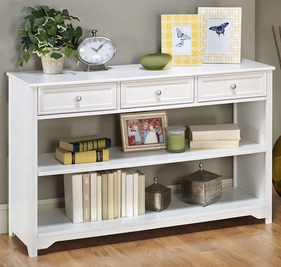 """Home Decorators oxford three drawer console table with open storage in white or black, $199  29.5""""H x 47""""W x 15""""D.  Inside of drawers: 4.25""""H x 13.25""""W x 11.75""""D."""