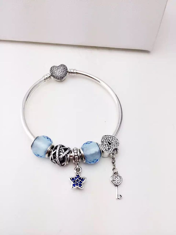 159 Pandora Charm Bracelet Blue Star Key Heart Hot