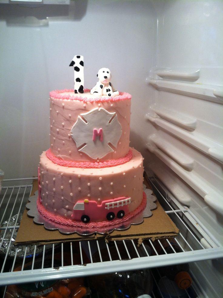 Lil girls pink firefighter birthday cake-madilynns first birthday