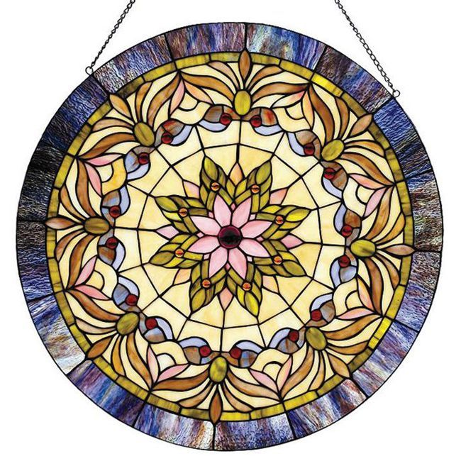 Add a splash of color to any space with this beautiful glass window panel. This Tiffany-style window panel contains a colorful array of hand-cut stained glass pieces, individually wrapped in fine copper foil, giving it that classic Victorian design.