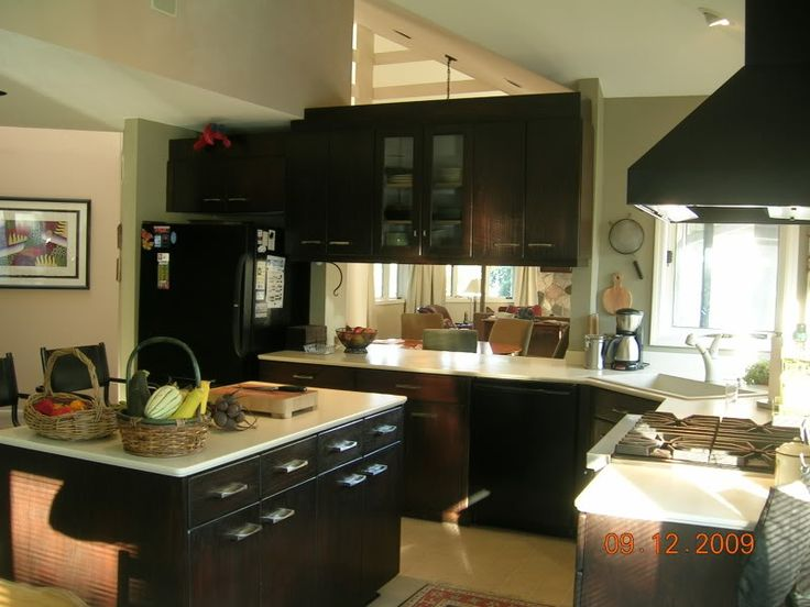 dark oak cabinets stain kitchen nightmares michons faucets island lighting