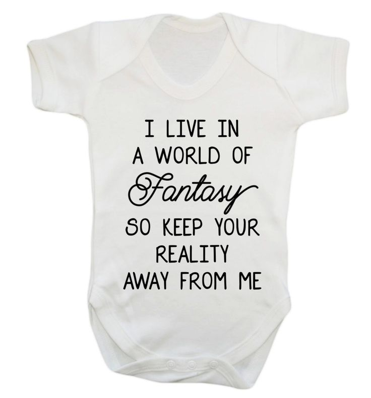 New to FloxCreative on Etsy: I live in a world of fantasy so keep your reality away from me baby grow vest funny joke gift quote mermaid unicorn cute magic white 59 (7.95 GBP)