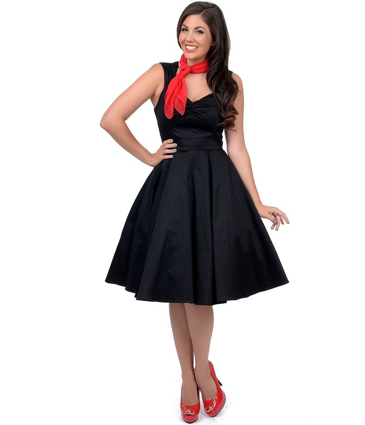 1950s Swing Dancing Dress  Black Sweetheart Sleeveless Swing Dress