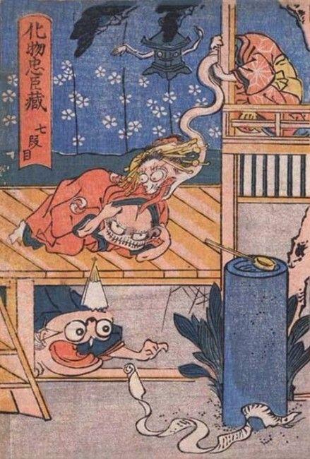 歌川国芳が描いた浮世絵「化物忠臣蔵」は江戸のマンガ!風刺あり笑いありで面白い・全11段