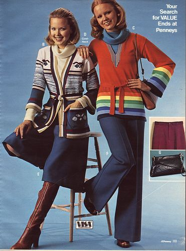 1976 JC Penney Christmas Catalog. I remember this style!  Check out the sweaters,gauchos and cowel necks!