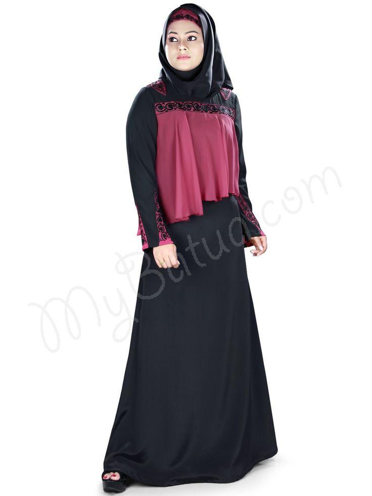 MyBatua Sabeeyah Abaya | Available in sizes XS to 7XL, lenth 50 to 66 inches.  Buy link : https://www.mybatua.com/catalogsearch/result/?q=sabeeyah+abaya