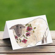 Australian Greeting Cards - Sheepish a watercolour art print also available as a small card 50mm x 70m