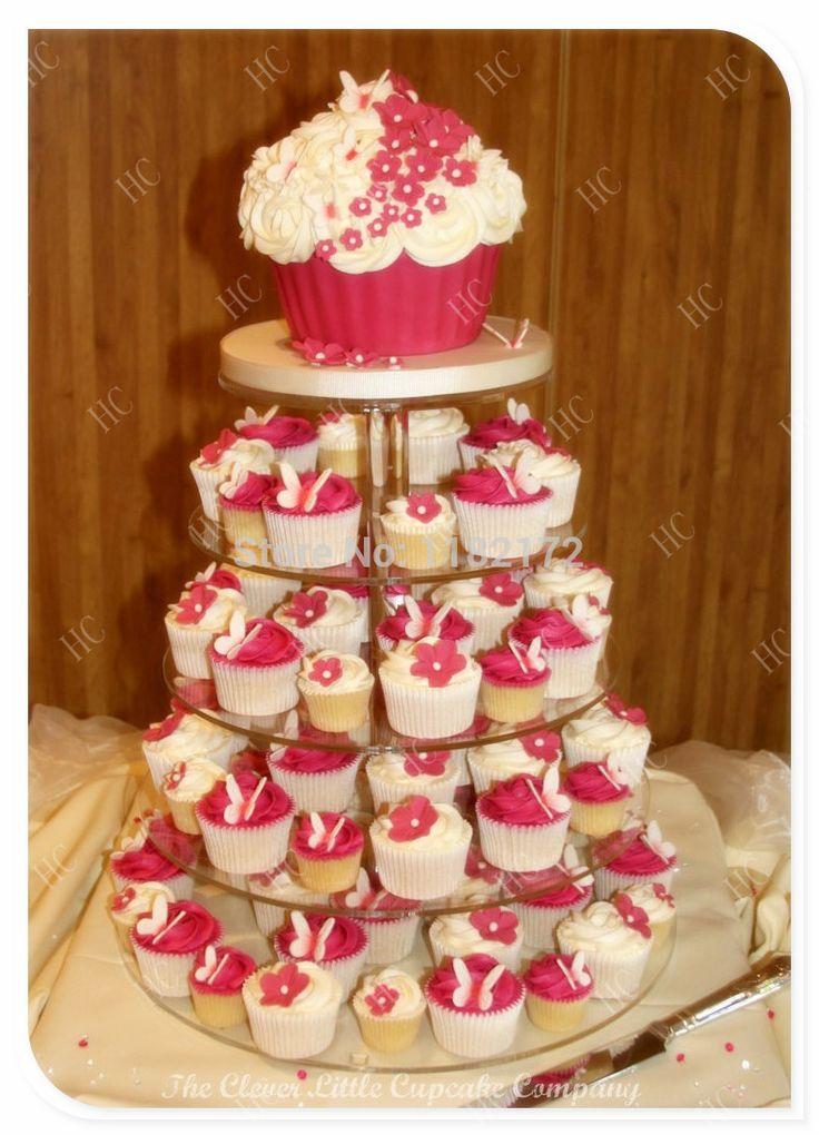 Кекс коробка стенд 5 Уровня Майское Дерево Красивые Акриловые Свадьба Кекс Стенд, 5 Уровня Perspex Торт Стенд