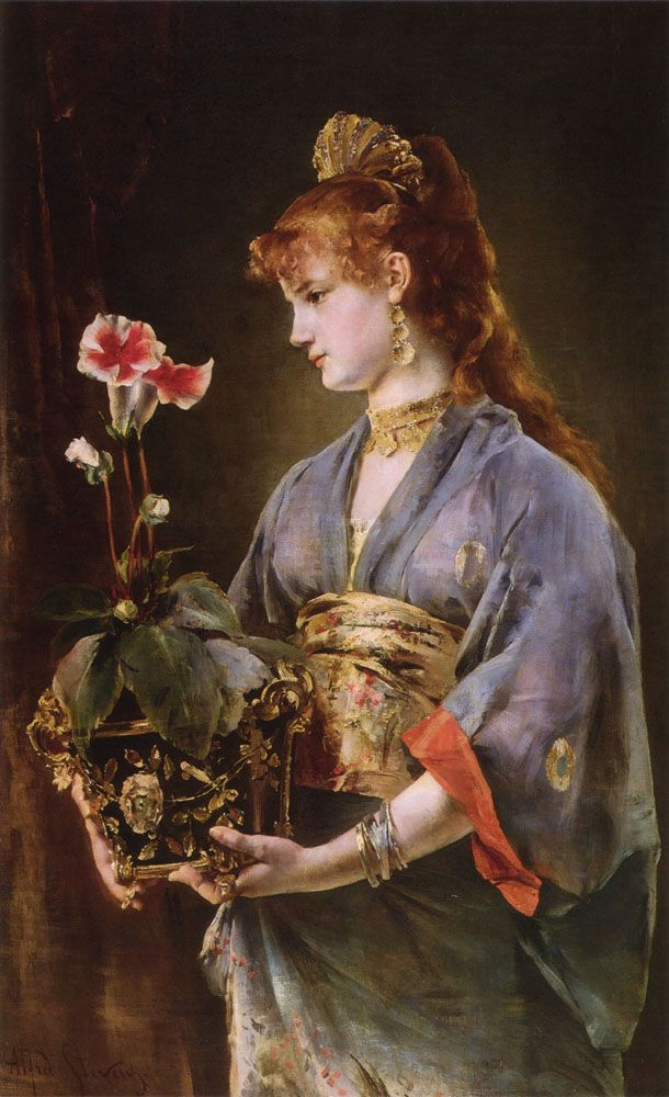 Alfred Stevens (Belgian Painter, 1823-1906) Woman with Flower Pot
