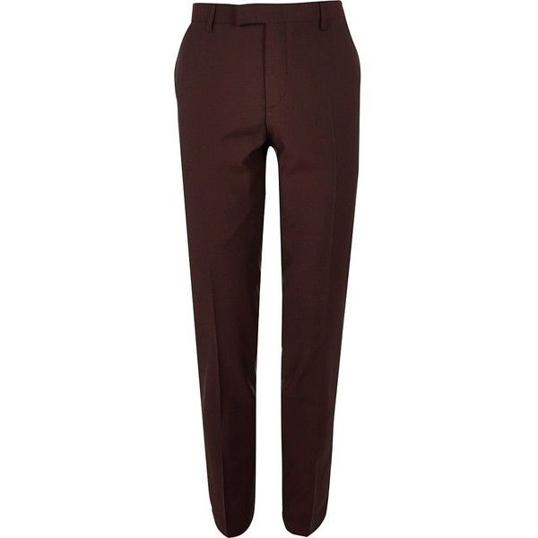 River Island Berry skinny fit suit pants (£66) ❤ liked on Polyvore featuring men's fashion, men's clothing, men's pants, men's dress pants, suits, mens skinny dress pants, mens skinny pants, mens skinny fit dress pants and mens skinny suit pants
