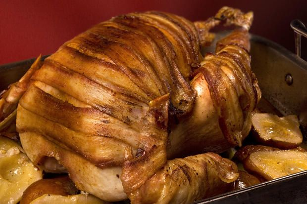 Bacon-Wrapped Turkey with Pear Cider Gravy Recipe