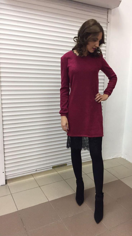 Купить Платье-свитер с кружевом , сейчас со скидкой - платье, платье-свитер, Платье нарядное