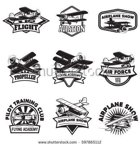 Set of flying academy emblems. Vintage airplanes. Design elements for logo, label, emblem, sign. Vector illustration.