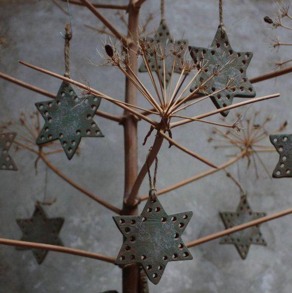 Set 4 pezzi. Decorazione natalizia in ceramica di NidaCeramiche