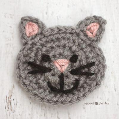 C is for Cat: Crochet Cat Applique @RepeatCrafterMe.com