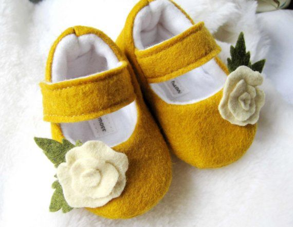 Toddler girl shoes yellow flower booties by ivoryandmoss.  These are for my favorite little set of twins!  They aren't quit ready to walk so these are perfect!