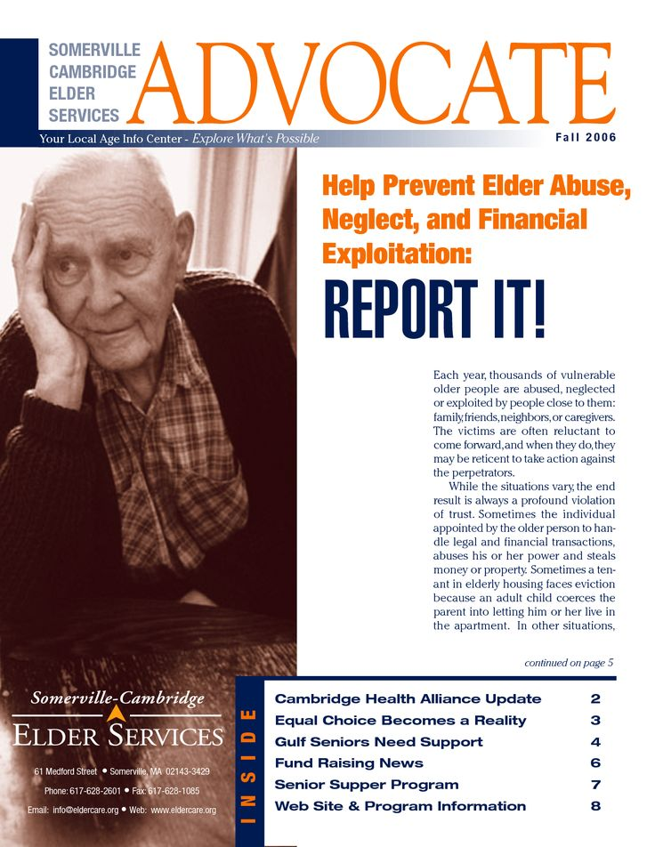 the neglect of the elderly Assessments conducted in the elderly person's home provide an important opportunity to evaluate the physical state of his or her environment and to probe for any signs of abuse or neglect by designated caregivers.