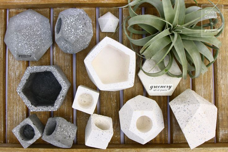 So many shapes to pick your favorite! Concrete creations by greenery #greenery #concrete #plants #succulents #art #chania #greece