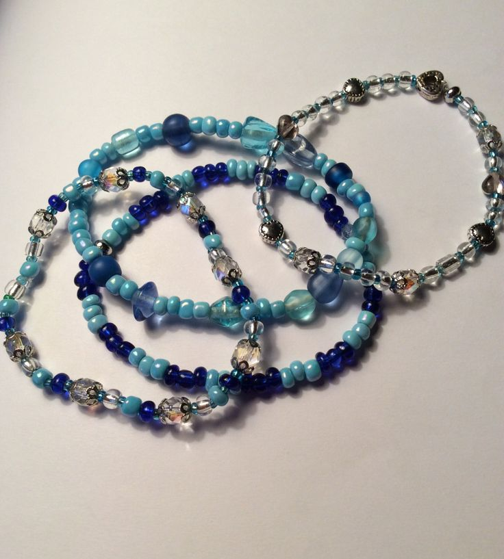 Set of 4 Frozen Inspired Winter Ice Stretch Bracelet Blue Heart Beads Fashion Jewellery by AliceAndBettyDesigns on Etsy