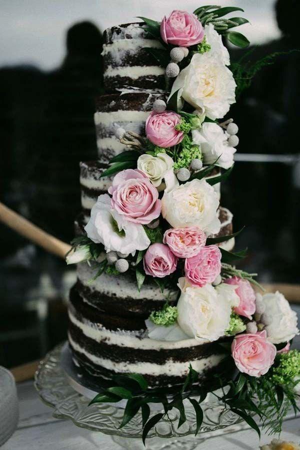 Chocolate Wedding Cake Inspiration, tiered naked cake, roses and peonies, wedding cake ideas