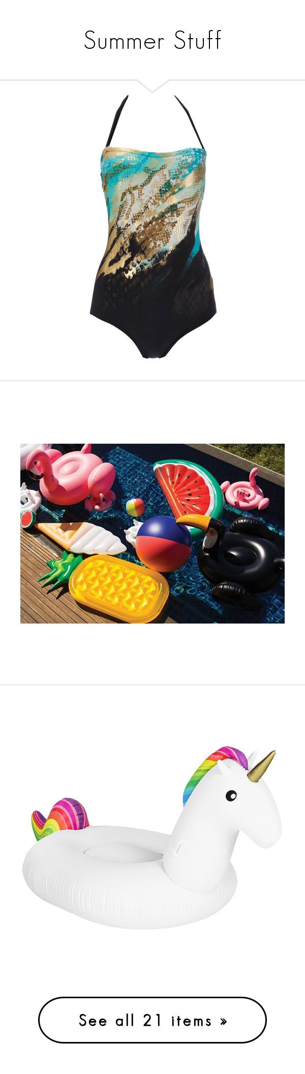 """""""Summer Stuff"""" by monica-cookson ❤ liked on Polyvore featuring swimwear, one-piece swimsuits, swimsuit, black, strapless bathing suits, halter neck swimsuit, one piece tummy control swimsuit, tummy control bathing suits, tummy control swimwear and float"""